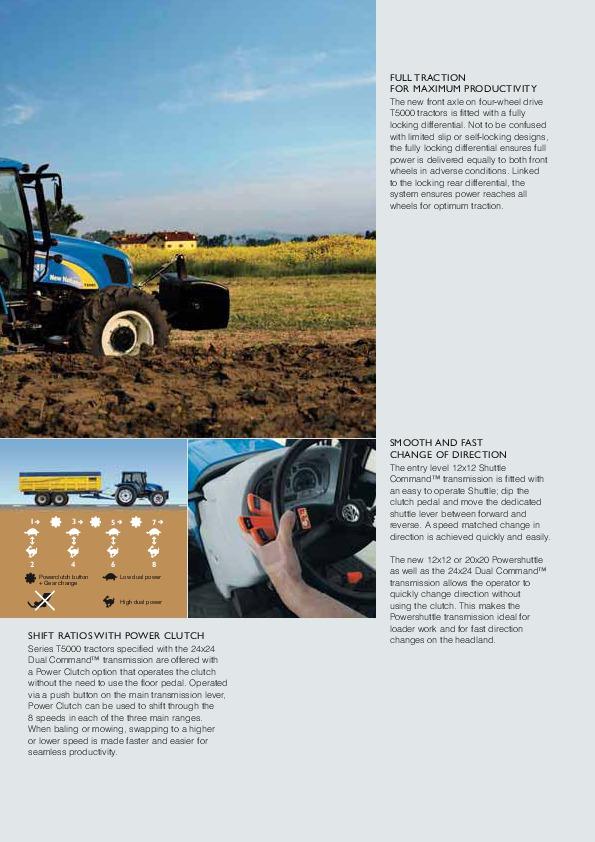 New Holland T5030 T5040 T5050 T5060 T5070 T5000 Tractors Catalog