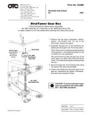 SPX OTC 6587 StrutTamer Gear Box Owners Manual page 1