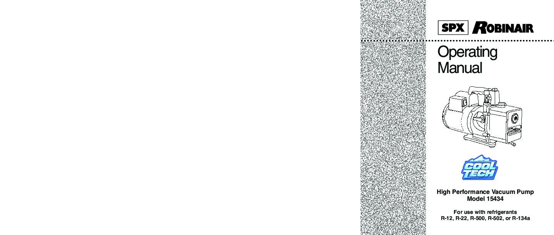 Robinair Spx 15434 High Performance Vacuum Pump With Refrigerants R Ac Unit Wiring Diagram 12 22 500 502 Owners Manual