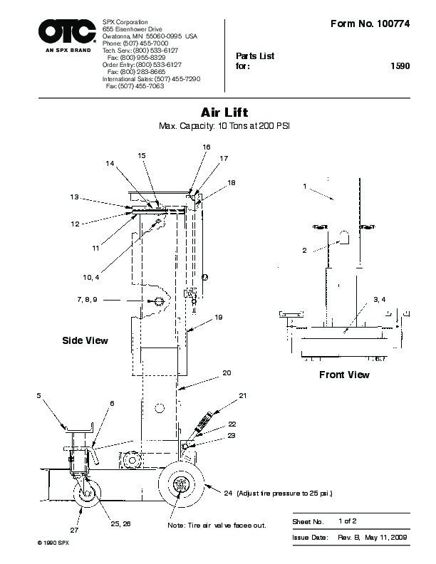 Otc Motorcycle Lift : Spx otc lift table air owners manual