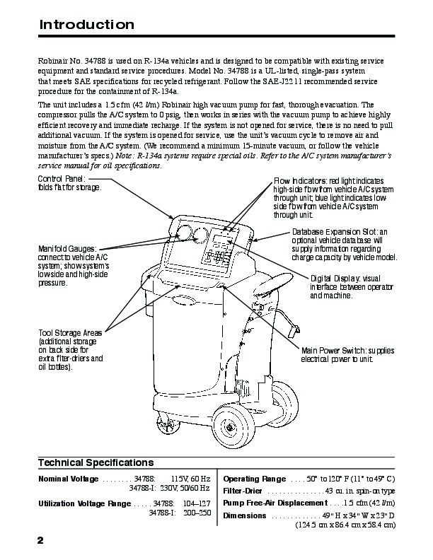Robinair Spx 34788 Recovery Recycling Recharging Unit Model Owners Manual