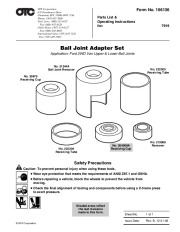 SPX OTC 7919 Ball Joint Adapter Set Ford 2WD Van Owners Manual page 1
