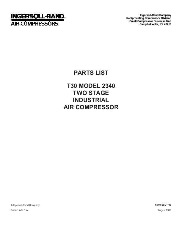Ingersoll Rand T30 2340 Two Stage Air Compressor Parts
