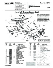SPX OTC 5019 Low Lift Transmission Jack Capacity 2200 Lbs Owners Manual page 1