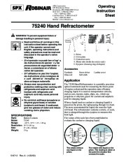 Robinair SPX 75240 Hand Refractometer Owners Manual page 1
