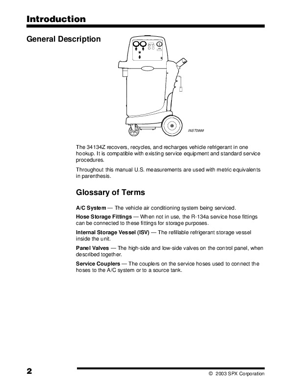 robinair spx 34134z refrigerant unit recover recycle recharge robinair spx 34134z refrigerant unit recover recycle recharge owners manual page 4