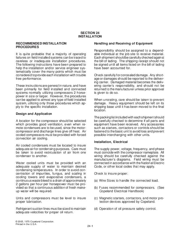 Emerson Copeland Refrigeration Manual Part 5 Compressor