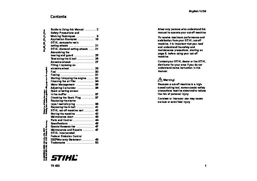 Инструкция stihl ts 400