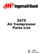Ingersoll Rand 2475 Air Compressor Parts List page 1