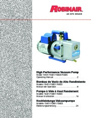 Robinair SPX 15401 15601 15603 15605 High Performance Vacuum Pump Owners Manual page 1