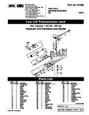 SPX OTC 1521A Low Lift Transmission Jack Owners Manual page 1