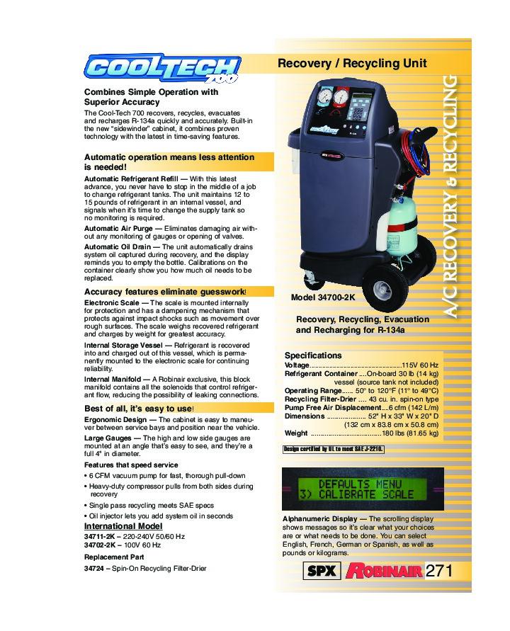 robinair spx 700 recovery recycling unit owners manual rh power tool needmanual com Robinair 34788 Cover Robinair Cool-Tech 700