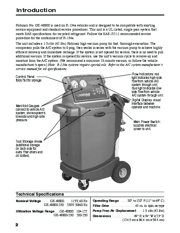Robinair Spx Ge 48800 Recovery Recycling Recharging Unit