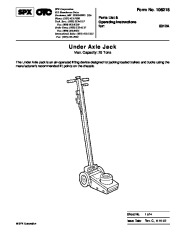 SPX OTC 5012 Under Axle Jack Owners Manual page 1