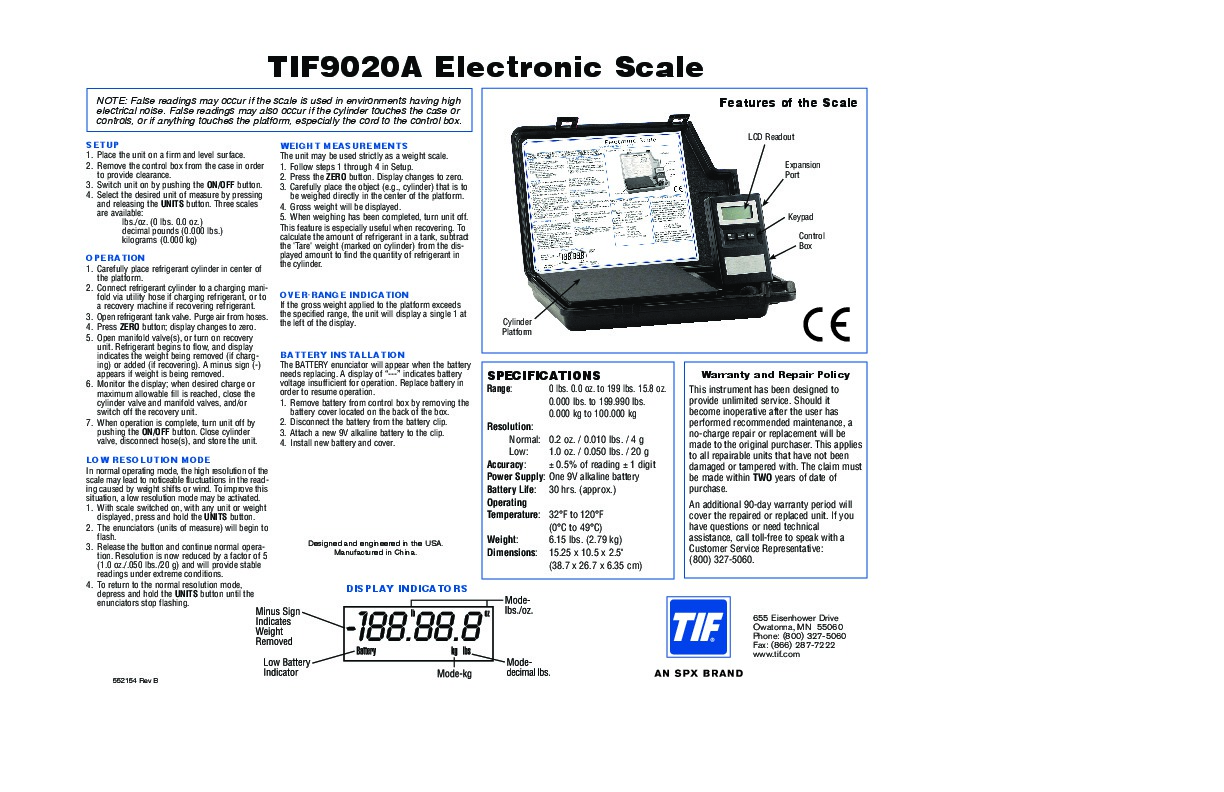 Robinair Spx Tif 9020a Electronic Scale Owners Manual Ac Unit Wiring Diagram