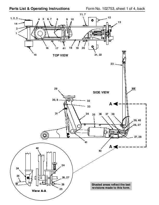 Spx Otc 5110 Air Hydraulic Floor Service Jack Owners Manual on Scissor Car Jack Diagram