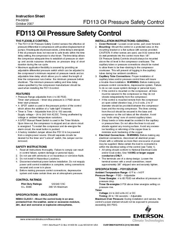 Emerson Copeland Instruction Sheet FD113 Oil Pressure Safety