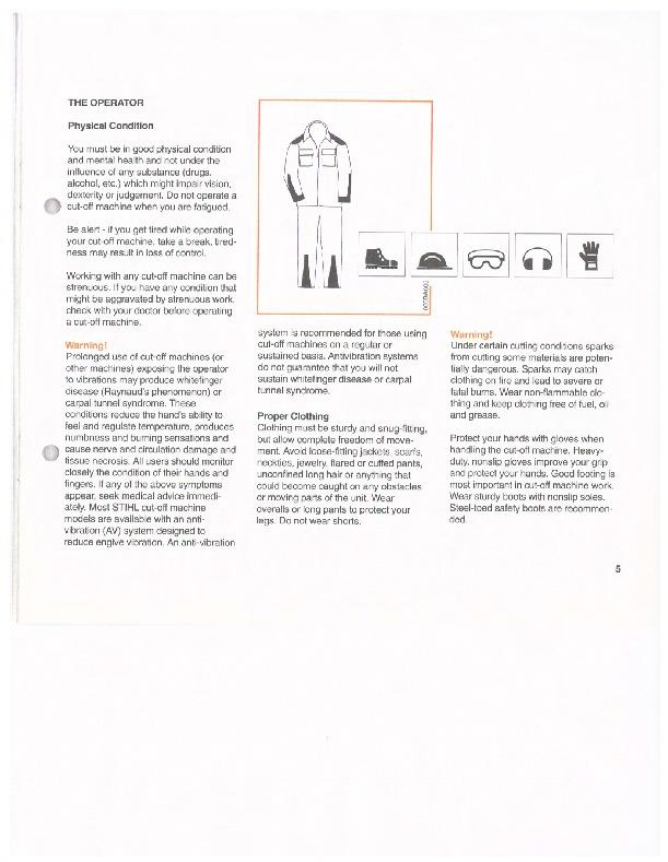 stihl cut off saw safety manual